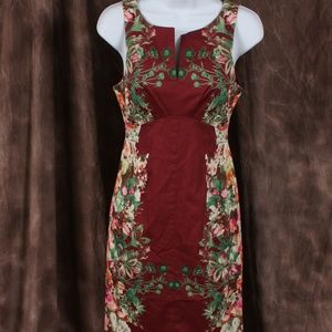 Modcloth Burgundy Floral Sleeveless Dress
